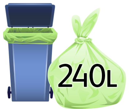 240 Litre Compostable Starch Large Wheeled Bin Liner